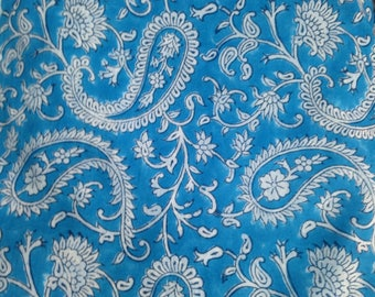 Light Turquoise Paisley Hand Block-Printed, 100% Cotton Fabric, by Meter