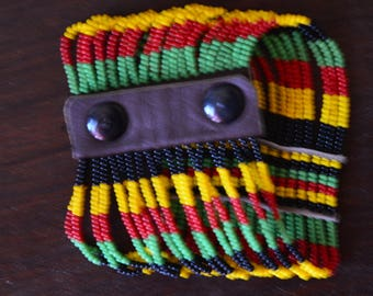 African Maasai beaded bracelet | Multi color bracelet | Yellow Red Green Bracelet | Press buttons fastening | Gift for Her