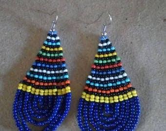 African Maasai Beaded Earrings   Royal Blue Beaded Earrings   Dangle Earrings   Tribal Earrings   Elegant Earrings   Gift For Her