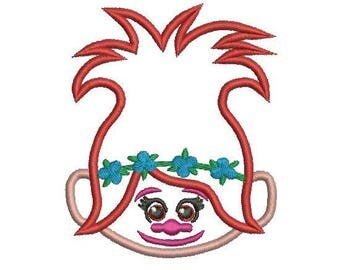 Poppy Trolls Applique Design, Princess Poppy Embroidery Design, Trolls Embroidery Design, Poppy Applique, Instant Download, Kids Applique