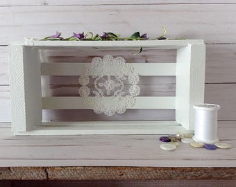 Small wooden crate, small white shelf, painted crate, decorative crate, white and purple decor, white shabby shelf, crate decoration