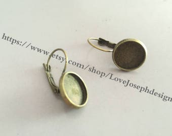 Wholesale 100 Pieces /Lot Antique Bronze Plated 12mm cabochon French Earwires Earring Base Setting Blanks (#0127)