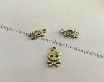 50Pieces /Lot Antique Bronze Plated 9mmx16mm skull charms (#0213)
