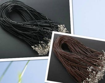 Adjustable 18-20inches wholesale 100pieces 2.0mm Black & Brown genuine necklace cords