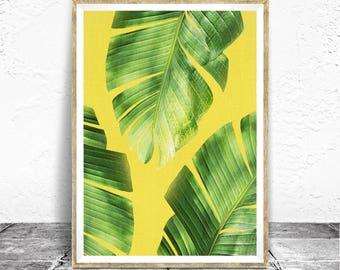 Banana Leaf Print, Tropical Print, Banana Leaves Wall Decor, Banana Leaf Wall Art, Banana Plant, Bright Yellow and Green Print, Summer Art