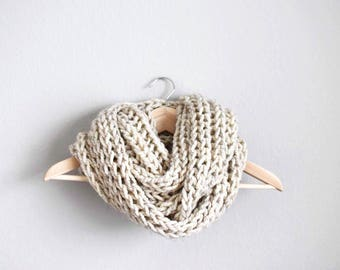 Knitted Infinity Scarf, Chunky Infinity Scarf, Oversized Scarf, Knit Infinity Scarf, Squishy Infinity Scarf, Winter Scarf Knit • IN OATMEAL•