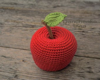 Crochet apple, Crochet fruit, Amigurumi Crochet food, Crochet play food, kitchen decoration,
