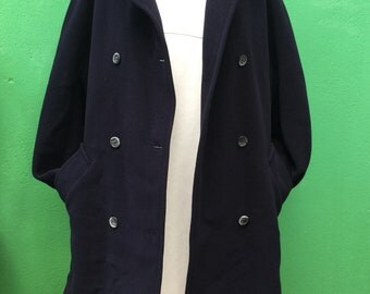 MARELLA | Made in Italy | Vintage Coat | Marella Coat | Navy Coat | 90s Coat | Vintage Coat | Double breasted Jacket | Angora Coat | Wool Coat |