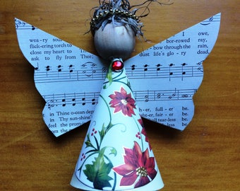 5 Paper Angel Christmas Ornament, Christmas Ornament, Angel Ornament, Repurposed Paper
