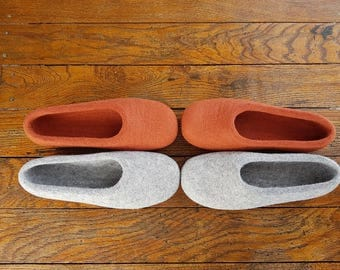Felted natural wool slippers,  felted shoes, house shoes, wool slippers, eco friendly