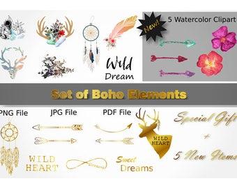 Set of Boho Elements, Boho Cliparts, Boho flowers, Boho Art Print, Boho Clip Art, Boho Decor, Boho Feather,  Boho Elements, Boho Prints