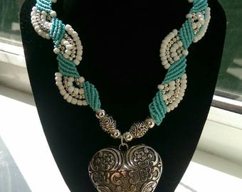 Turquoise and white beaded heart necklace