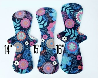 "Sampler Postpartum Collection | Set of 3 Symmetrical Postpartum (Super Heavy - Overnight) Cloth Pads | 14"", 15"", 16"""