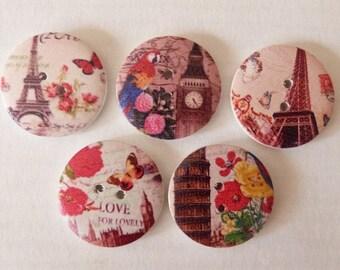 5 round wooden buttons sewing, children, 3 cm VINTAGE PARIS V scrapbooking