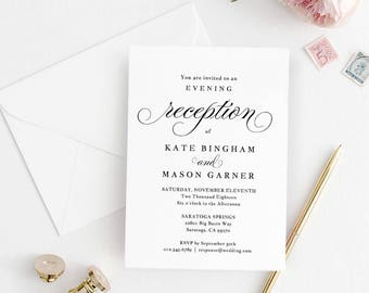 Printable Wedding Reception Invitation Template, Evening Reception Invite, DIY Formal Reception Card, Editable PDF, Modern #SPP014iiri