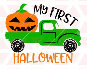 My First Halloween svg, dxf, png, cricut, cameo, cut file, Halloween svg, Truck svg, Jack O Lantern svg, Pumpkin svg, 1st halloween svg