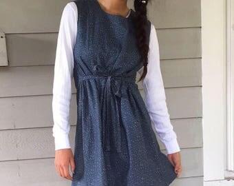80s Calico Cotton Jumper Dress | XS/S