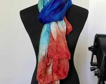 Prophetic - Silk Scarf - Gifts for Women - Dyed Silk - Christian Gifts - Crinkle Silk called Be My Hands