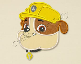 Paw Patrol Rubble Head applique embroidery design, Paw Patrol Machine Embroidery Designs, Embroidery designs for baby, Instant download #006