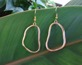 Picasso Gold Odd Shape Wire Earrings With A FREE GIFT BOX Ready To Give.
