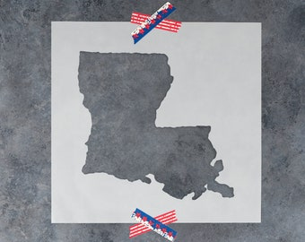 Louisiana State Stencil - Hand Drawn Reusable Mylar Stencil Template