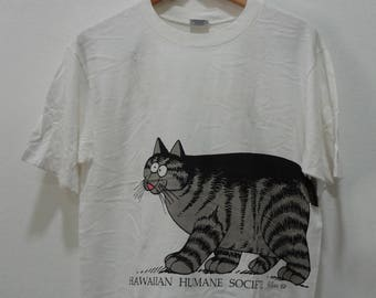 Rare Vintage KLIBAN CATS Crazy Shirts Hawaii Tee Cotton T-Shirt White Cotton Short Sleeve Crewneck Made in U.S.A. Size M