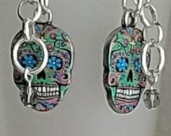 Dia De Los Muertos, day of the dead, sugar skulls earrings