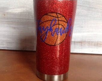 "Basketball ""glitter"" metal tumbler"