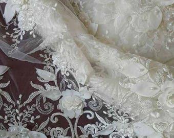 Lace Fabric/3D Luxury Beaded Ivory Bridal Lace/Bridal Lace Fabric