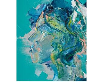 Original painting, wall art, abstract painting, abstract art, contemporary art, portrait, mermaid, modern art, colourful art, original art