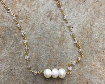 Delicate Pearl and Rose Quartz Necklace