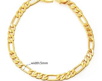 Classic Figaro Chain Bracelet Gold 5mm