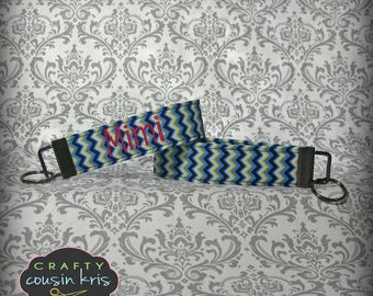Key Fob Wristlet in Blue and Yellow Chevron