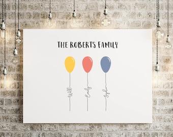 Personalised Family Balloons Framed Digital Print, A4/A3, Balloons, Family Print, Wall Decor, Family Names,
