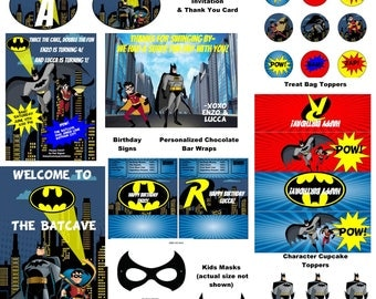 Batman & Robin  Party Package- Printables with Invitation and Thank You Card- Free Personalization-Huge Over 20 items!