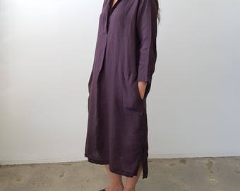 Polo Shirtmaker Dress in washed linen
