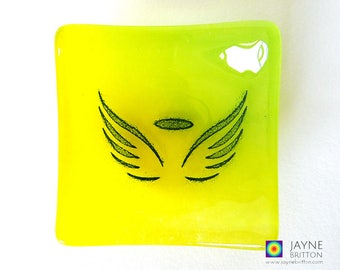 Glass angel bowl, symbol of love, yellow and green glass dish, tea light candle holder, yellow gift, angelic gift, earring dish, tealight