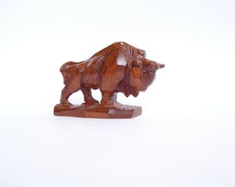 Vintage Wooden bull Hand Carved Wooden bull Figurine Wooden Figure of animal Wooden art figure Symbol of male power