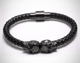 Leather skull bracelet, 100% genuine leather bracelet