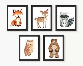 Woodland Nursery Prints, Woodland Nursery Wall Art, Woodland Animal Prints, Nursery Room Art, Forest Animals, Forest Nursery, Size A4 Set 5