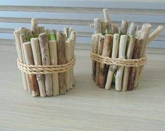 jars with Driftwood - set of 2 pencils - compartments - deco sea - pens - gift idea - Christmas storage - child