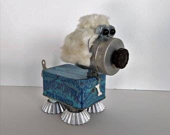 Found Object Robot Dog - Steampunk Sculpture - Dog Art - Mixed Media Assemblage - Dog Lover - Wind up Dog