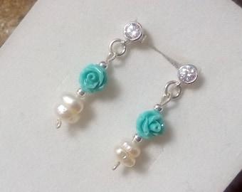 Earrings Sterling Silver 925 Silver Pearl River Pearls earrings Woman Woman Earrings Tiffany Resin Color pink roses Silver925