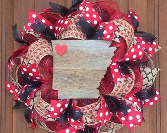 Rustic Arkansas Deco Mesh Wreath