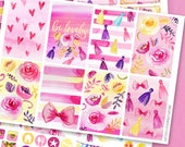 Be Lovely Watercolor Flowers and Tassels Planner Stickers / Pink Purple and Yellow Planner Stickers Collection kit / 3 sheets