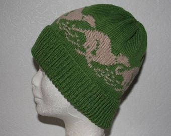 Sage Green Beanie Hat with Beige racing Whippet or GreyHound dogs with or without pompom