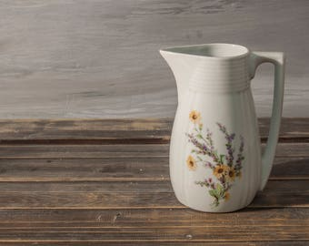 Vintage Porcelain Pitcher, Porcelain jug, White floral jug, Porcelain Vase, Vintage Vase, Kitchen decor, Vintage country decor, chubby chick