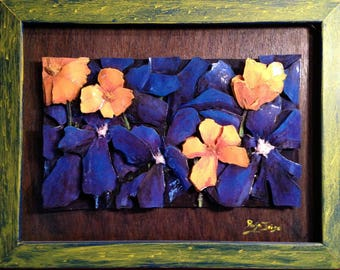Painting 30 x 40 blue forget-me-nots