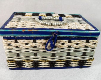 Beautiful Vintage Wicker Jewelry Box,  Vintage Blue and White rattan  jewelry box,mid-century sewing box