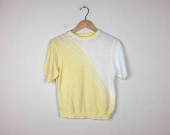 80s Pastel Top, Retro Yellow Top, Short Sleeve Sweater